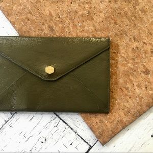 lodis olive green snap wallet